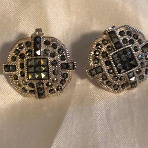 Sterling Silver Marcasite post earrings